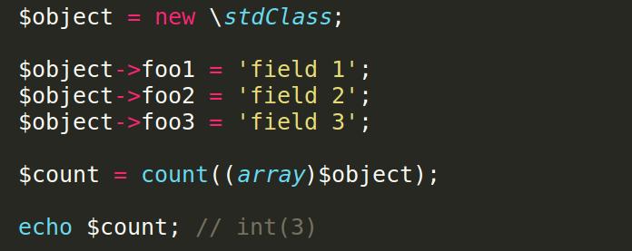 Как сосчитать количество полей объекта в php
