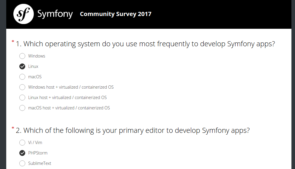 Symfony community survey 2017