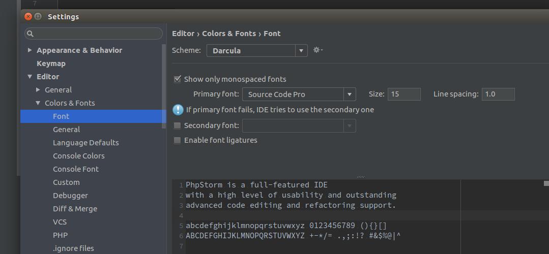 Как изменить размер шрифта в phpstorm